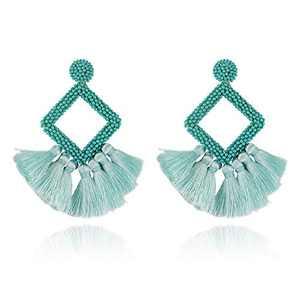 Jornarshar Hoop Round Tassel Earrings for Women Handmade Bohemia Beaded Fringe Dangle Earrings, Idea Gift for Mom, Sister and Friends (Opal Green)