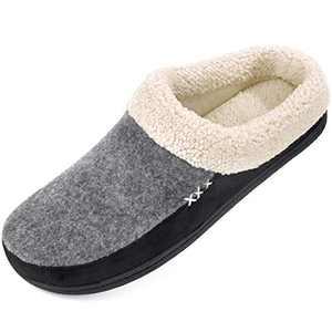 Men's Slippers Fuzzy House Shoes Memory Foam Slip On Clog Plush Wool Fleece Indoor Outdoor Size 13-14 Grey/Black