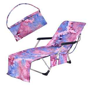 TOPCHANCES Lounge Chair Towel Covers ,Pool Chaise Lounge Towel Microfiber Swimming Pool Chair Lounger Cover with Side Storage Pockets ,Beach Chair Covers for Sun Lounger Pool Sunbathing (Purple)