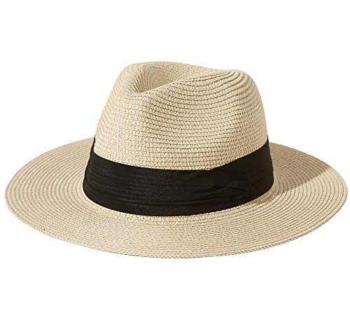 "Lanzom Men Women Wide Brim Straw Foldable Roll up Hat Fedora Summer Beach Sun Hat UPF50+ (B-Beige, Large Size:Fit for 23""-23.6"")"