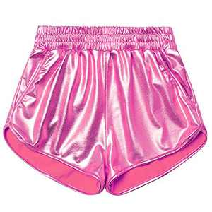 Juniors Pink Metallic Shorts Shiny Sparkly Dance Hot Pants for Teen Girls 12 13