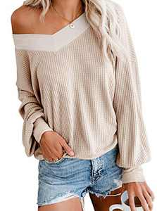 Women's Casual V Neck Long Sleeve Waffle Knit Off Shoulder Top Oversized Pullover Sweater Apricot Medium