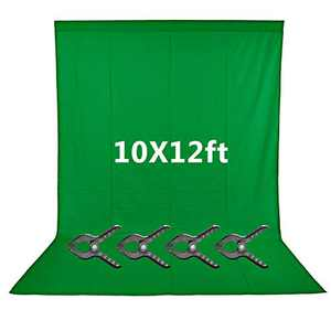 Neewer 10x12 feet/3x3.6 Meters Green Chromakey Fiber Backdrop Background Screen for Photo Video Studio, 4 Pieces Backdrop Clamps Included, Ideal for Portraits and Product Shooting