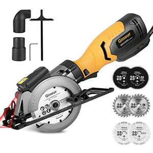 Circular Saw,ginour 750W 3600RPM Mini Circular Saw with 6 Blades(117-125mm), Cutting Depth 0-48mm, Cutting Slope 0~45°, Laseer Guide, Scale Ruler, Compact Circular Saw for Wood, Tile and Soft Metal