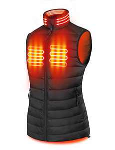 PTAHDUS Women's Heated Vest, Lightweight Heated Vest for Women with Neck Warmer (Large, Included 7.4V Battery Pack)