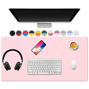 "TOWWI Desk Pad, 32""x16"" PU Leather Desk Blotter, Dual-Side Use Mouse Pad Desk Accessories (Blue / Pink)"
