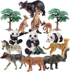 iBaseToy Toy Animals Set - Jumbo Zoo Animals, King of Jungle Animals & African Animals Figures, Realistic Toy Set for Kids and Toddler - Perfect for Education, Party Favors & Birthday Gifts