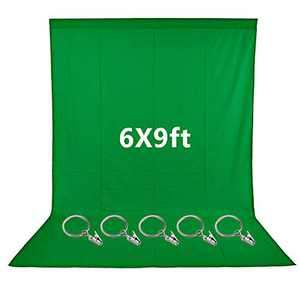Neewer 6x9 feet/1.8x2.7 meters Green Polyester Backdrop with 5 Pieces Ring Metal Holding Clips for Photo Video Studio, Ideal for Portraits and Product Shooting
