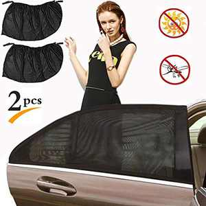 Car Window Shade for Baby,Car Window Shades for Side Windows Stretchable and Breathable Mesh Sun Shade for Car Window - Sun Glare, UV Rays and Privacy Protection 2 Packs…