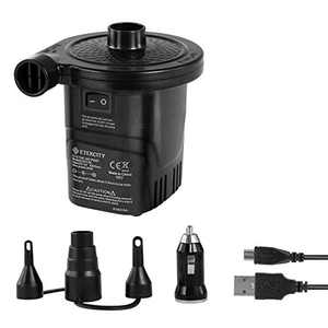 Etekcity Electric Air Pump Rechargeable Portable Air Mattress Pump Cordless Quick-Fill Inflator Deflator for Pool Inflatables Raft Bed Boat Pool Toy Floats with 12-24V DC Adapter&12V USB, 3 Nozzles