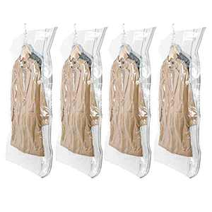 TAILI Hanging Vacuum Storage Bags Space Saver Bags for Clothes, 4 Packs Long 53x27.6 inches, Vacuum Seal Storage Bag Clothing Bags for Suits, Dress Coats or Jackets, Closet Organizer and Storage