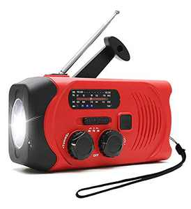 HapGo Emergency Weather Radio Solar Hand Crank Self Powered AM FM NOAA Weather Radios with 2000mAh Power Bank Charger for Smart Phone, Flashlight,SOS Alarm Outdoor Survival Device (red)