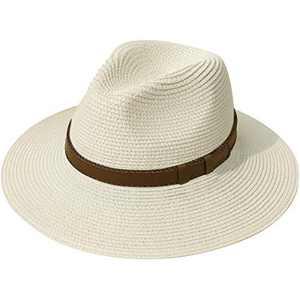 Lanzom Women Wide Brim Straw Panama Roll up Hat Belt Buckle Fedora Beach Sun Hat UPF50+ (X Belt-Beige)