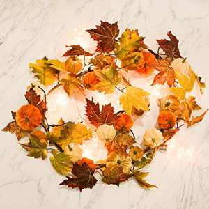 Romingo Artificial Maple Leaf Garland with Pumpkins 69'' Hanging Fall Leave Vines for Wedding Thanksgiving Dinner Party Fireplace Halloween Décor