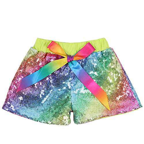Cilucu Baby Girls Sequin Shorts Toddlers Sparkle Short Pants Kids Birthday Shorts Glitter on Both Sides Rainbow Green 4t