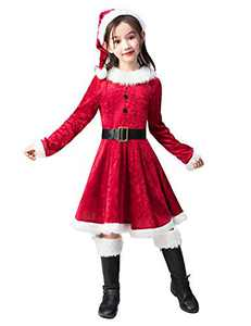 Takuvan Little Mrs. Santa Suit Girls Christmas Dress Outfit, Kids Halloween Cosplay Costume for Party S
