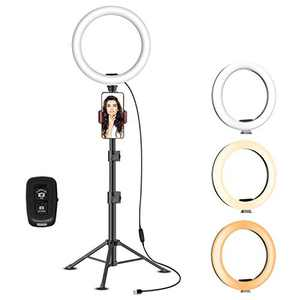 """Yesker 10.2"""" Selfie Ring Light Dimmable with Tripod Stand Cell Phone Holder Mini Led Camera Ringlight for Live Streaming Makeup Video Photography Compatible with Android Remote Control"""