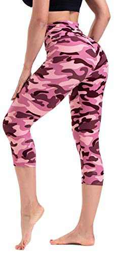 CAMPSNAIL Printed Capri Leggings for Women - High Waisted Tummy Control Capris Pants Yoga Workout Athletic Cycling Tights Pink Camo