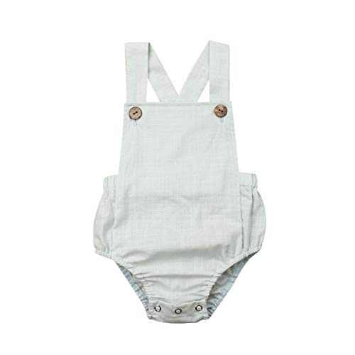 Xmasgifts Newborn Infant Baby Girl Boy Summer Romper Solid Color Sleeveless Jumpsuit Backless Overalls Cotton Outfits (2-3T, Green)