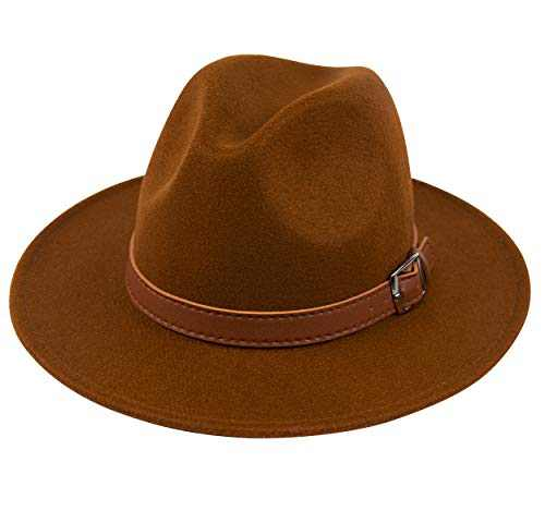 Lanzom Womens Classic Wide Brim Floppy Panama Hat Belt Buckle Wool Fedora Hat (One Size, Z Belt-Coffee)