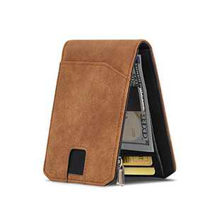 Mens RFID Blocking Front Pocket Minimalist Slim Genuine Leather Wallet with Money Clip