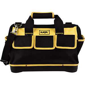 KATA 16 Inch Heavy Duty Tool Bag with Wide Mouth for Tool Storage and Organizer,Water Proof Base,Yellow