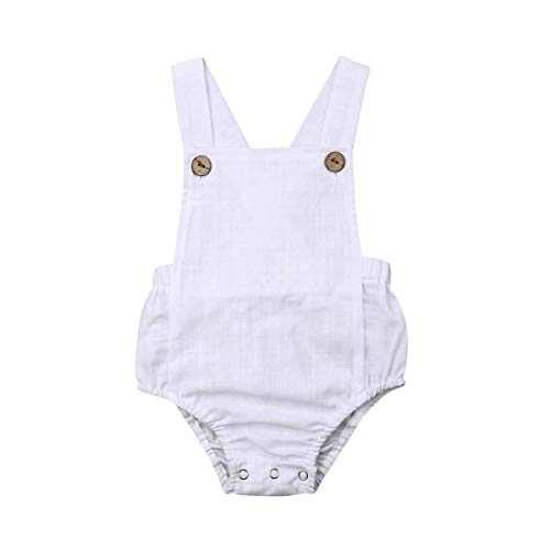 Xmasgifts Newborn Infant Baby Girl Boy Summer Romper Solid Color Sleeveless Jumpsuit Backless Overalls Cotton Outfits (3-6M, White)