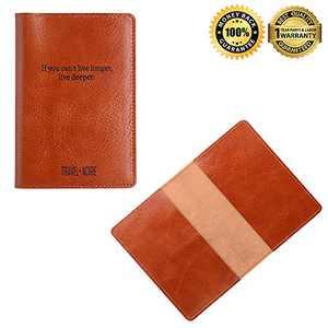 Leather Passport Holder Passport Cover Case Wallet for Men Women Travel (slogon)
