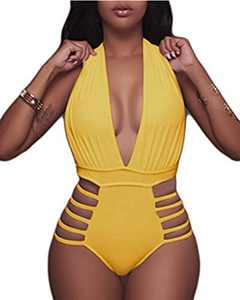 Aqua Eve Women Sexy One Piece Swimsuits Halter Plunge V Neck Cutout Bathing Suits Light Yellow Large