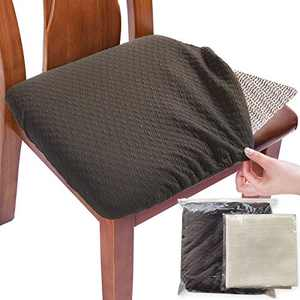 BUYUE Exclusive Knitted Fabric Chair Covers for Dining Room Washable Jacquard Stretch Slipcover Protector for Upholstered Chair - Set of 4, Brown