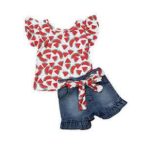 Baby Little Girls Denim Shorts Set Fly Sleeve Watermelon Tops+Denim Jean Short+Sash Outfits Set 1-6Y