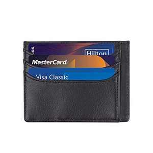 RFID Blocking Minimalist Credit Card Holder Slim Front Pocket Genuine Leather Wallets for Men & Women