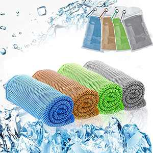 Cooling Towel for Instant Cooling Relief,100% Microfiber Chilly Towel,Soft Breathable Ice Towel for Yoga, Camping, Sports, Gym(4pack)