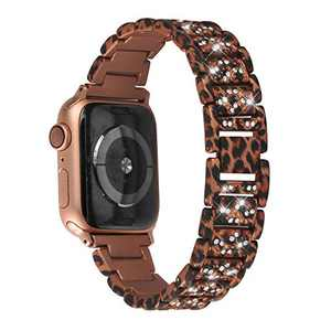 hooroor Bling Bands Compatible Apple Watch Band 38mm 40mm Series 4/3/2/1, Stainless Steel Metal Rhinestone Cuff Bracelet Wristband Strap for Women iWatch Band (Leopard Print, 38 mm 40mm)