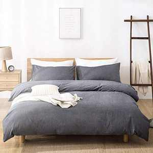 SORMAG Duvet Cover King Size 3 Piece, 100% Washed Cotton Comforter Cover, 800 Thread Count Solid Color and Ultra Soft with Zipper Closure, Corner Ties, Simple Bedding Style, Gray