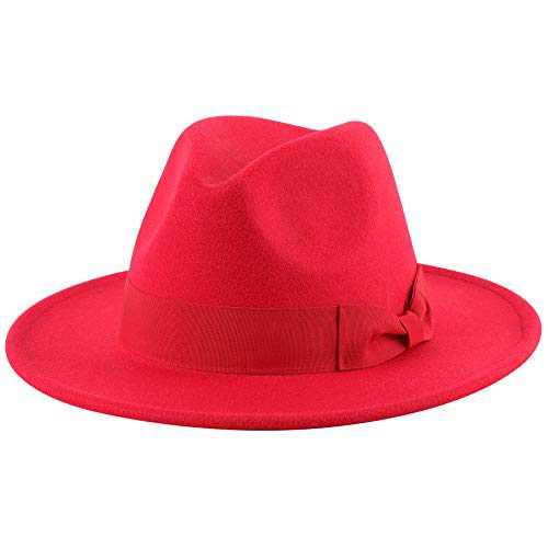 Lanzom Women Wide Brim Warm Wool Fedora Hat Retro Style Belt Panama Hat (X-Bowknot Red, One Size)