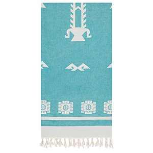 Cacala Tree of Life Series Exclusive Pestemal Towel - Absorbent Genuine Turkish Bath Towel - Patented Design - Anatolian Motifs - Oeko-TEX Certified - 100% Cotton - 37 x 71 inches (Aqua)