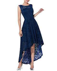 Qianzibaimei Women's Vintage 1950s Floral Lace Sleeveless Party Cocktail Wedding Formal Swing Dress (Blue, XL)