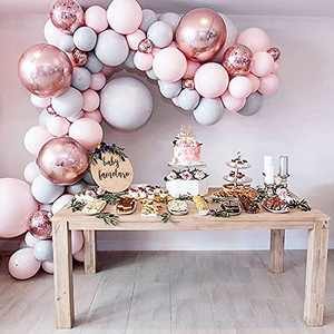 """Eanjia Balloon Arch & Garland Kit Double-Stuffed 5""""-18"""" Pastels Pink Gray Rose Gold Confetti Balloons Bulk 16ft for Wedding Baby Shower Birthday Party Shop Decoration (Pink)"""