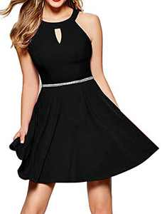 InsNova Black Cocktail Dresses for Juniors Teens Girls Wedding Party Graduation Skater Dress