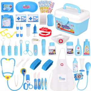 Faburo Doctor Kit, 49pcs Kids Doctor Toy Set Pretend Doctor Role Play Toy Set Dentist Surgeon Medical Equipment Doctor Playsets with Mini Medicine Box Stethoscope for Preschoolers Boys Girls
