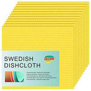 Swedish Dishcloths for Kitchen - Cellulose Sponge Dish Cloths, European Super Absorbent Microfiber, No Odor Biodegradable and Reusable Dish Towels, Non Scratch Pad, Cleaning Wipes Kitchen Rag (yellow)