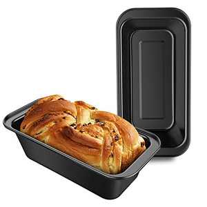 Loaf Pans 8.5 x 4.5 Inch, Beasea Set of 2 Loaf Bread Pans for Baking, Nonstick Bread Loaf Pans Loaf Baking Pans, Carbon Steel Loaf Bakeware for Oven Baking - Black
