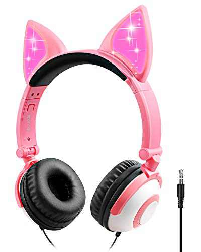 Kids Headphones Cat Ear Support 3.5 mm Audio Jack Headset, 85dB Volume Limited Cute On Ear Headphones (Pink)