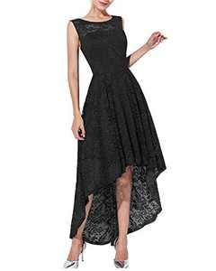 Qianzibaimei Women's Vintage 1950s Floral Lace Sleeveless Party Cocktail Wedding Formal Swing Dress (Black, XXL)