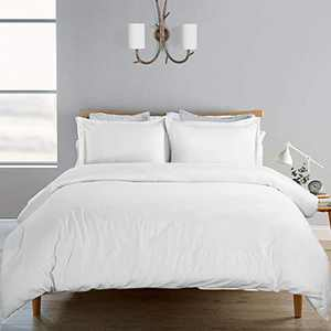 SORMAG 100% Washed Cotton Duvet Cover 3 Piece, Comforter Cover Queen Full Size, 800 Thread Count Solid Color and Ultra Soft with Zipper Closure, Corner Ties, Simple Bedding Style, White
