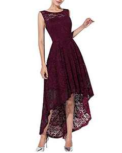 Qianzibaimei Women's Vintage 1950s Floral Lace Sleeveless Party Cocktail Wedding Formal Swing Dress (Red Wine, S)