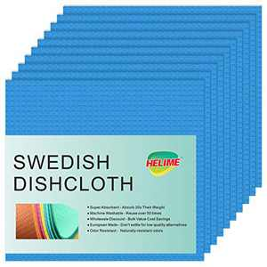 Swedish Dishcloths for Kitchen, Cellulose Sponge Dish Cloths, No Odor Biodegradable Reusable Dish Towels, European Super Absorbent Microfiber Washing Dishes, Non Scratch Pad, Cleaning Wipes Rag (Blue)