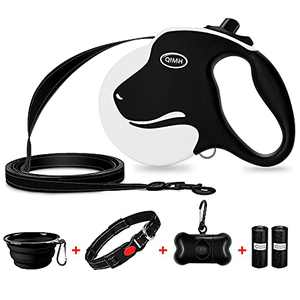 QiMH Upgraded Retractable Dog Leash, 360° Tangle-Free Heavy Duty 16ft Reflective Walking Dog Leash Ribbon with Anti-Slip Handle for Medium and Large Dogs Up to 110lbs, One-Handed Brake, Pause and Lock