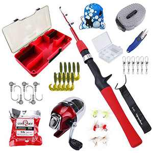 Freehawk Kids Fishing Pole with Spincast Reel, Fishing Rod Combo Full Kits, Portable Telescopic Youth Fishing Rod with Full Kits Lure Case and Carry Bag for Youth Fishing and Beginner (Red)